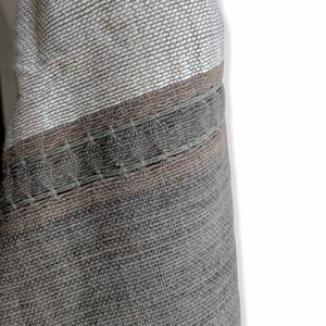 Hand woven tan & charcoal cotton shawl scarf NWOT
